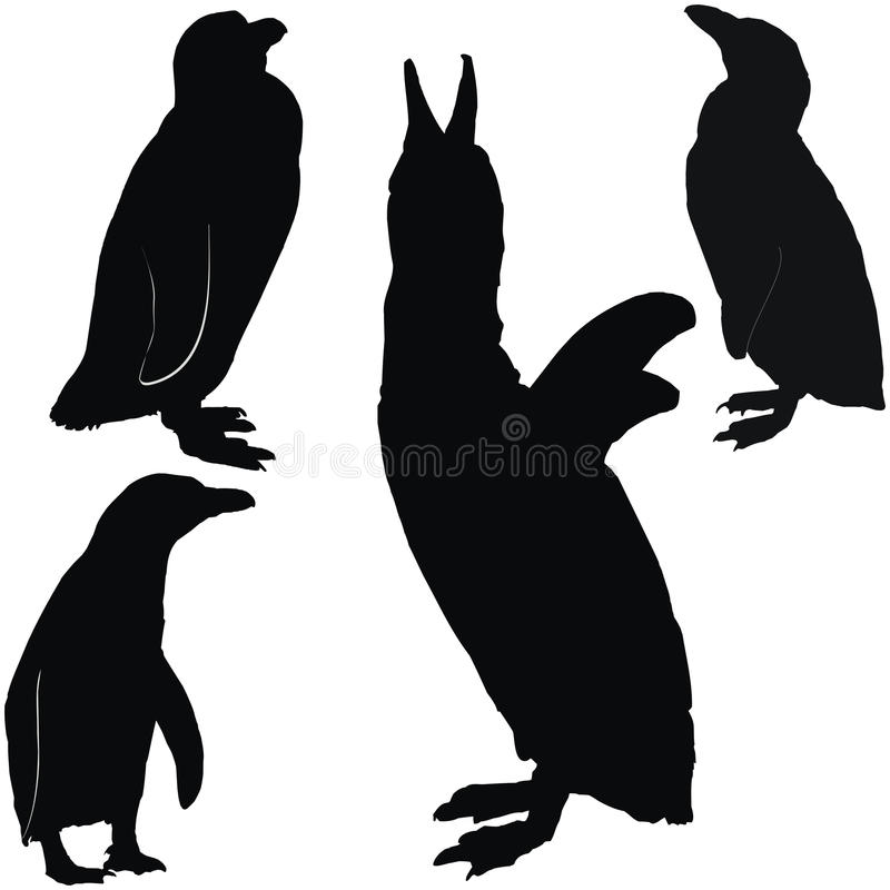 Posing penguins. Set of black silhouettes royalty free illustration