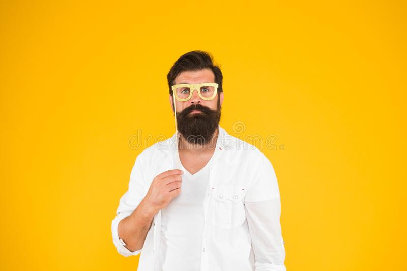 Posing for photo. serious bearded man party glasses. Party accessory. Good mood. ready for holiday. Smart nerd royalty free stock photos