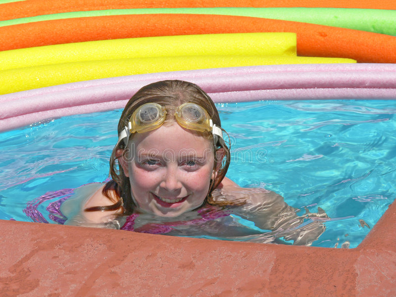 Posing in pool royalty free stock photography