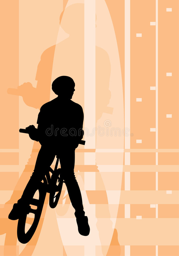 Posing riding boy. Vector image of posing riding boy stock illustration