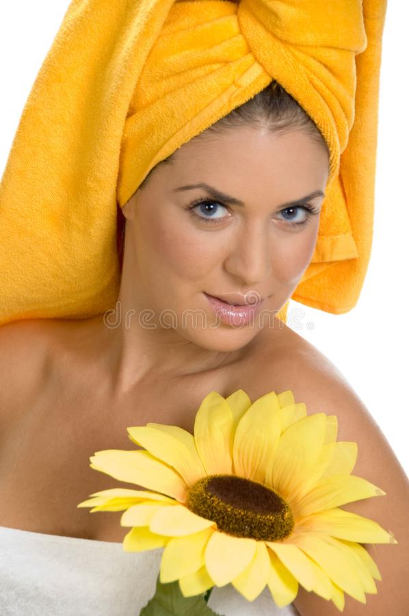 Download Posing Smiling Female In Towel With Sunflower Stock Image - Image of pose, female: 6617971