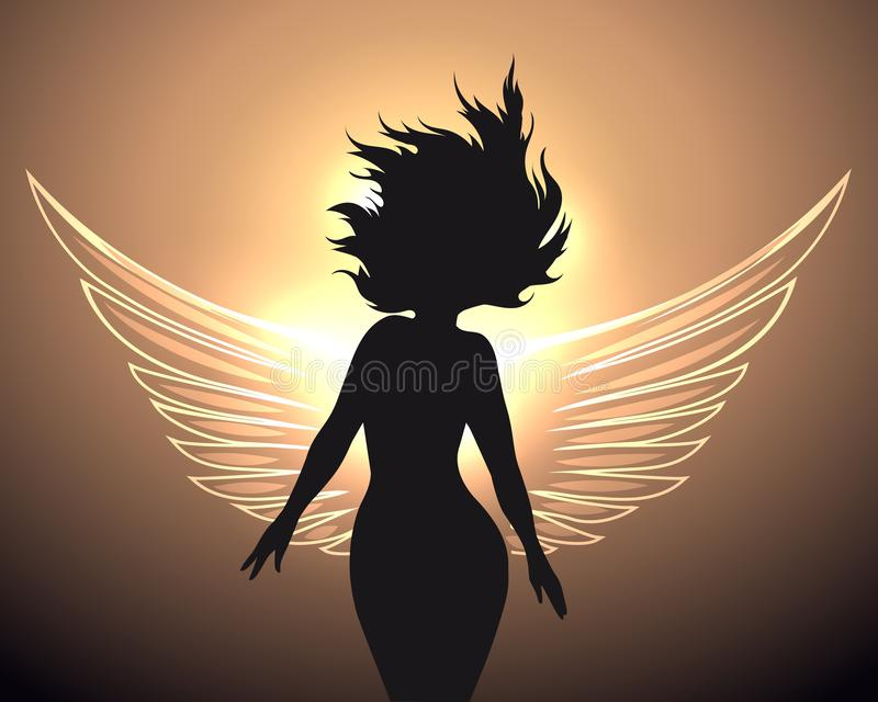 Woman with angel wings royalty free illustration