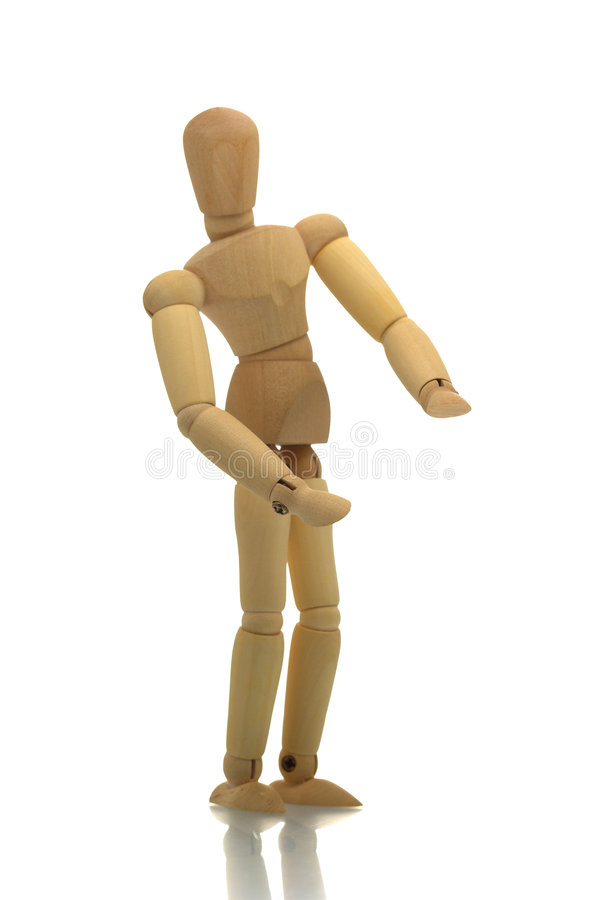 Posing wooden manikin stock photography