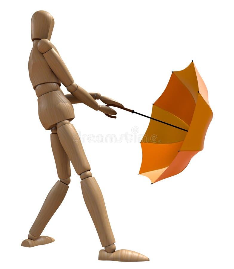 Download Posing Wooden Manikin With Umbrella. Stock Illustration - Illustration: 16134640
