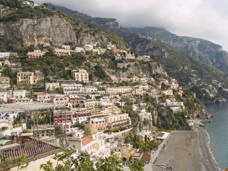 Positano,旅游城市找出意大利的南部 库存照片