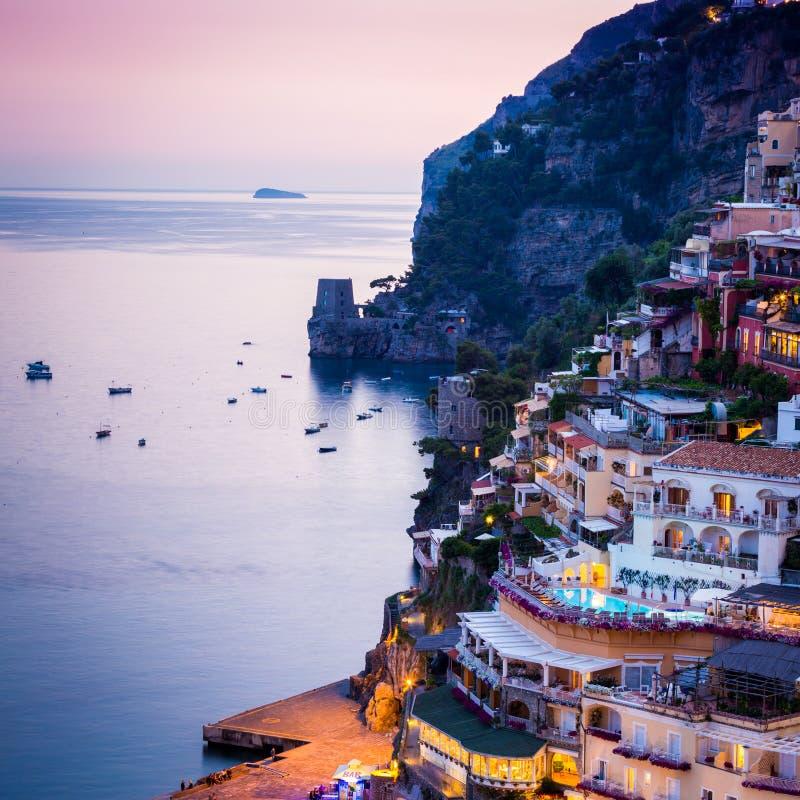 Positano, свободный полет Amalfi, Италия стоковая фотография