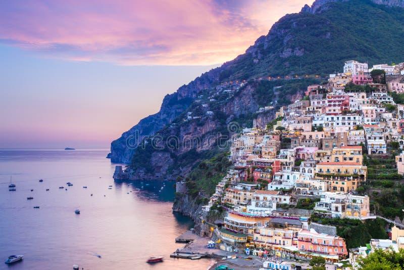 Positano, свободный полет Amalfi, Италия стоковое фото rf