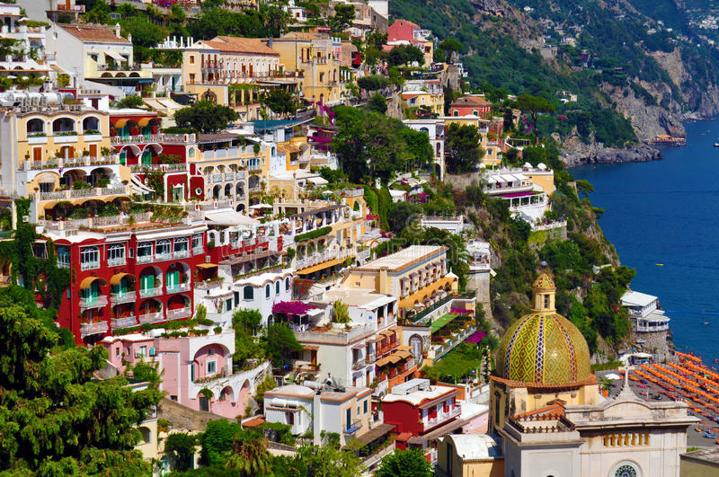 Positano on the Amalfi coast stock photo