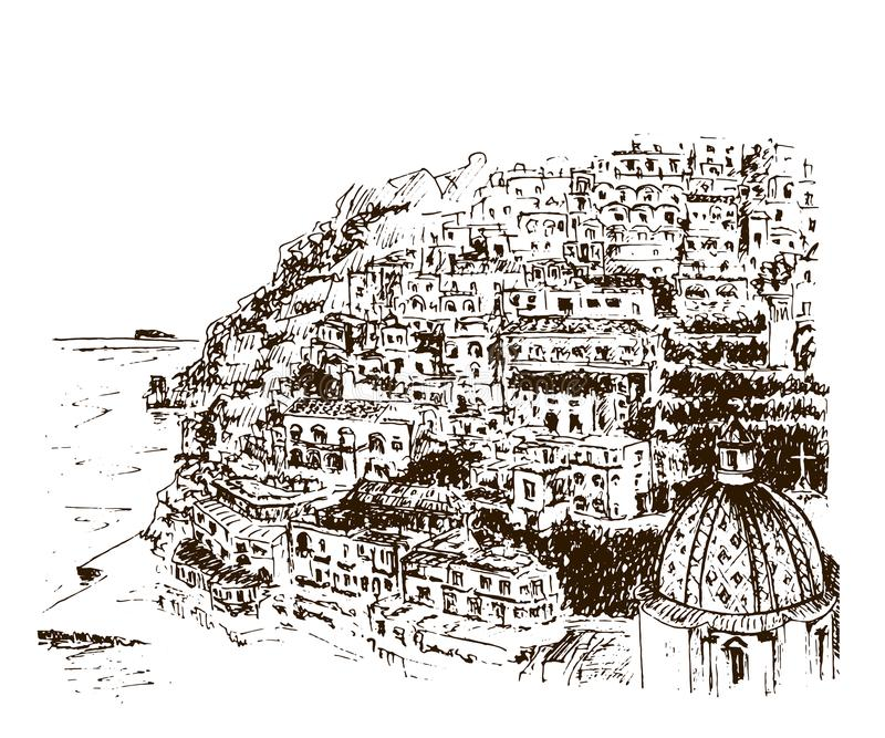 Positano Amalfi kust, Campania, Sorrento, Italien Skissar den härliga handen drog vektorn illustrationen vektor illustrationer