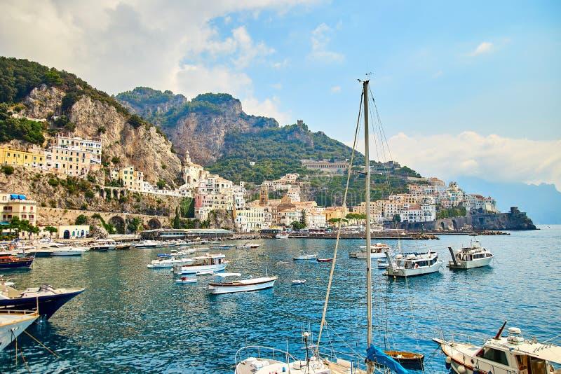 Positano, Amalfi wybrzeże, Campania, Włochy piękny widok zdjęcie stock