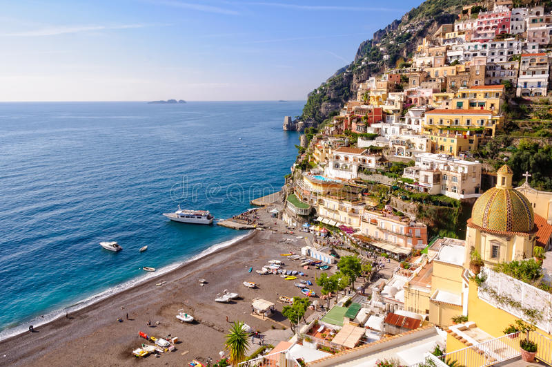 Positano in autumn. Positano beach in autumn - Amalfi Coast, Campania, Italy royalty free stock photography