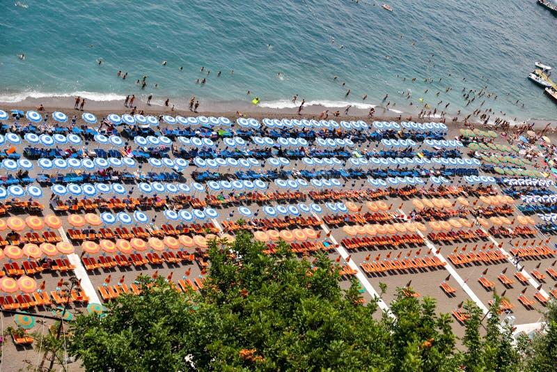 Positano beach in Amalfi Coast, Naples, Italy stock image