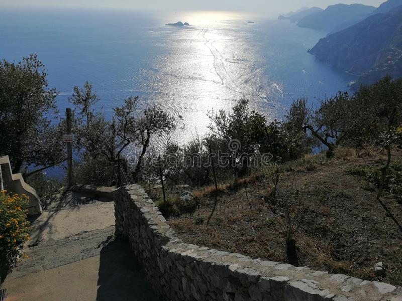 Nocelle - Scala per Positano. Positano, Campania, Italy - September 30, 2018: Panoramic view of Positano from the steps that descend from Nocelle stock photo