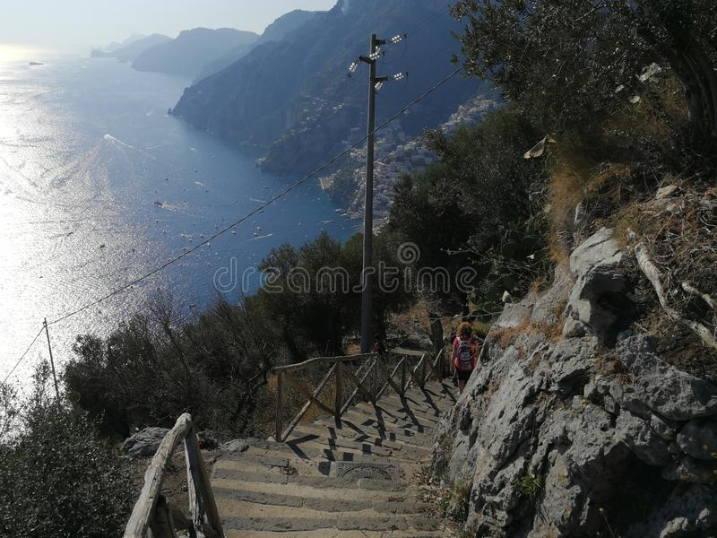 Nocelle - Scalette per Positano. Positano, Campania, Italy - September 30, 2018: Panoramic view of Positano from the steps that descend from Nocelle royalty free stock photography