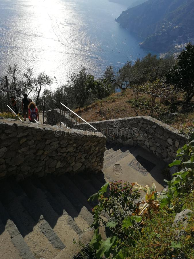 Nocelle - Scalinata per Positano. Positano, Campania, Italy - September 30, 2018: Panoramic view of Positano from the steps that descend from Nocelle stock image