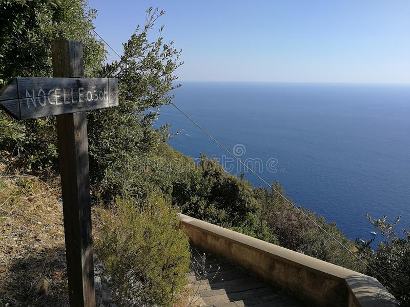 Scale per Nocelle. Positano, Campania, Italy - September 30, 2018: Panoramic view of Positano from the steps that descend from Nocelle stock image