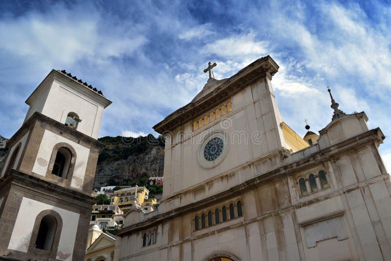 Positano Church front from plaza with sky. Chiesa di Santa Maria Assunta, Positano from plaza with sky royalty free stock photo