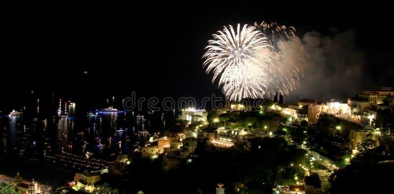 Positano fireworks. On 15th august each year stock photos