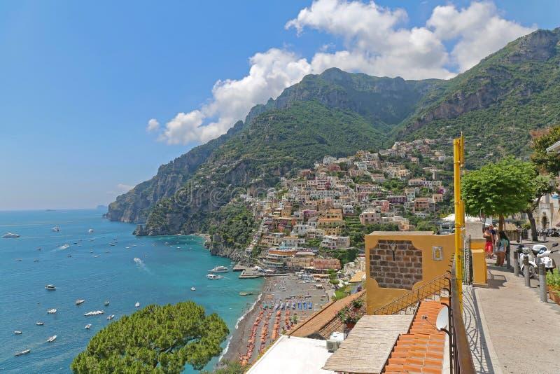 Positano Amalfi Italy. Positano, Italy - June 27, 2014: Amalfi Coast Mediterranean Sea Sunny Summer Day in Positano, Italy royalty free stock photo