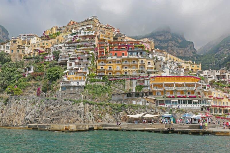 Dock Positano. Positano, Italy - June 28, 2014: Dock Pier View From Tyrrhenian Sea Amalfi Coast in Positano, Italy stock image