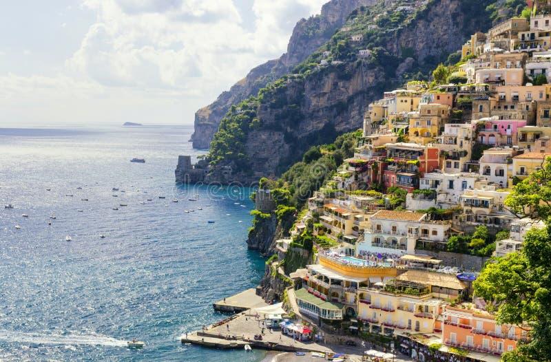 Positano na costa de Amalfi, Itália imagens de stock