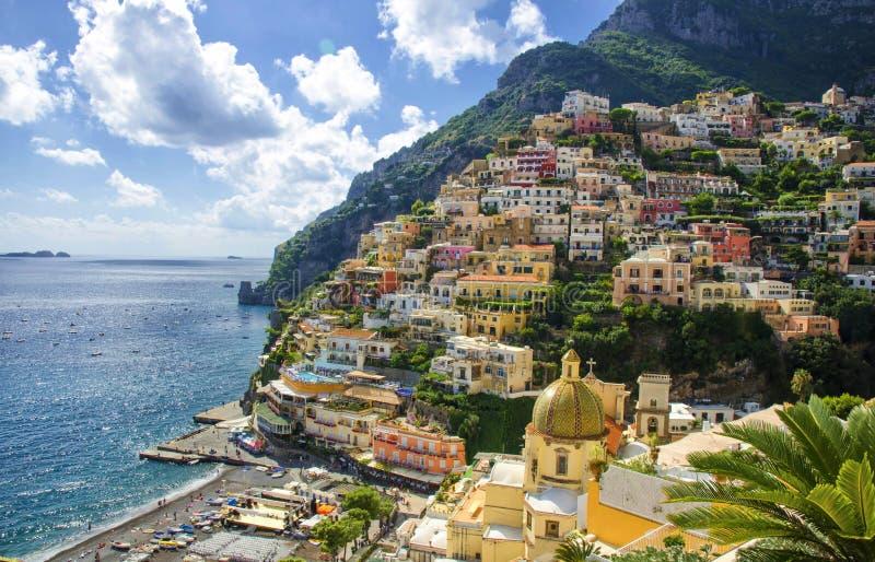 Positano på den Amalfi kusten, Italien arkivfoto