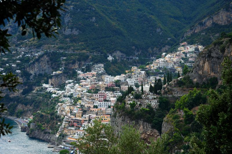 Positano from Nocelle path. Positano from the steps up to Nocelle on a late afternoon, Italy stock photography