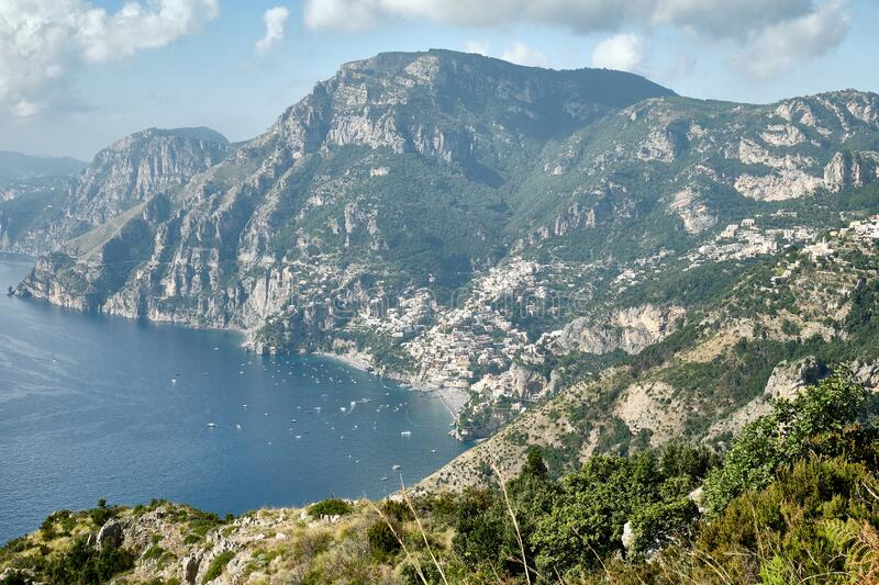 Positano viewed from the Path of the Gods hiking trail. Near Nocelle on the Amalfi Coast royalty free stock photography