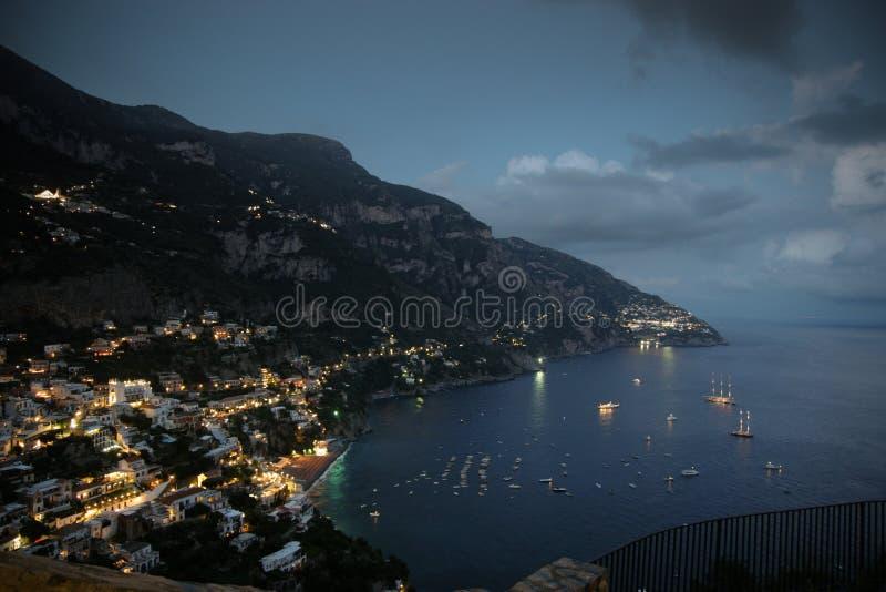Download Positano village at night stock image. Image of shining - 26556957