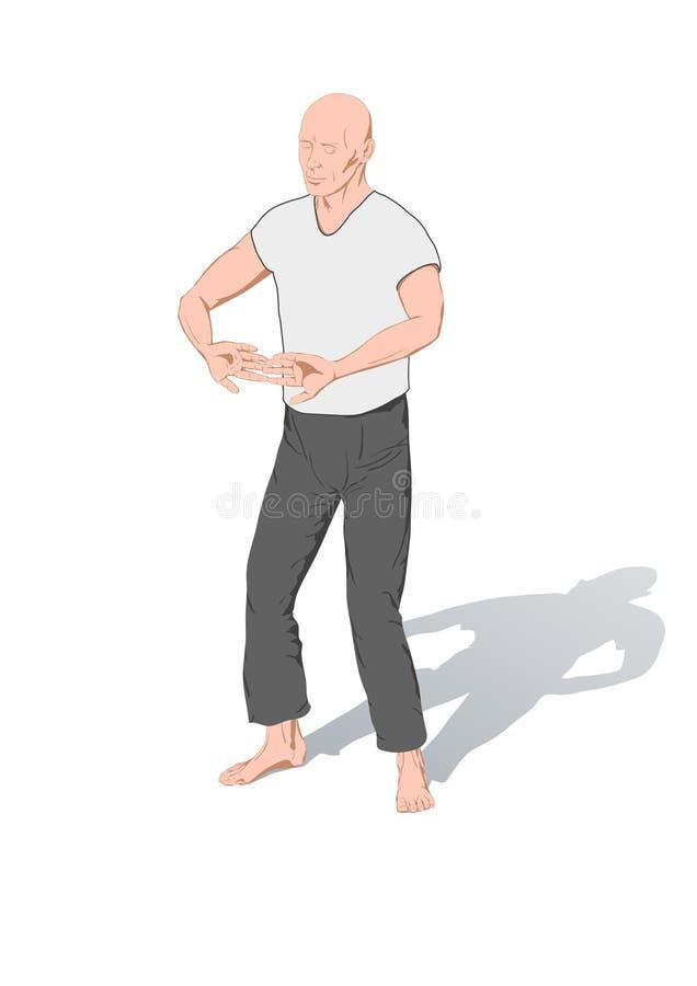 Posities van gymnastiek een chi kung vector illustratie