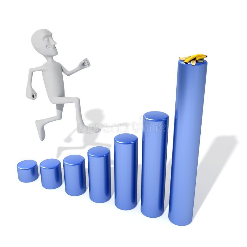 Positieve bedrijfsgrafiek met zelfverzekerde mens vector illustratie