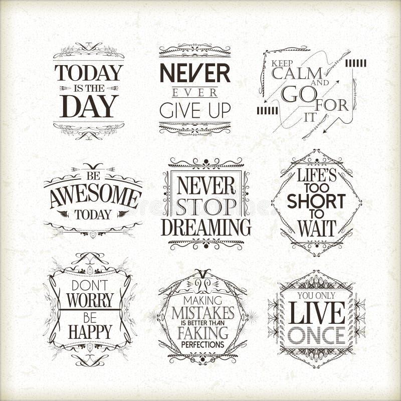 Positieve geplaatste citaten royalty-vrije illustratie