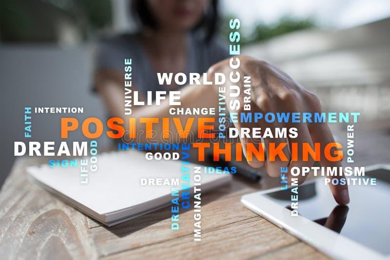 Positieve het denken het Levensverandering Bedrijfs concept Woordenwolk royalty-vrije stock foto's