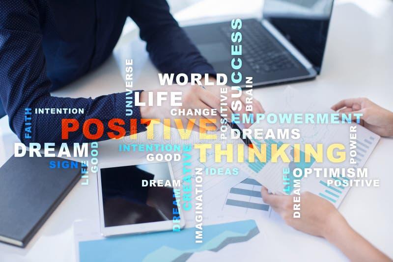 Positieve het denken het Levensverandering Bedrijfs concept Woordenwolk royalty-vrije stock foto