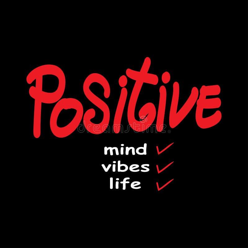 Positieve mening, positieve vibes, het positieve leven royalty-vrije illustratie