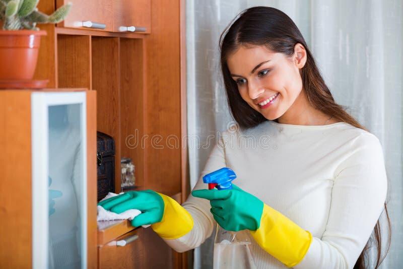 Positieve mooie langharige vrouw die regelmatige schoonmaak doen stock afbeelding