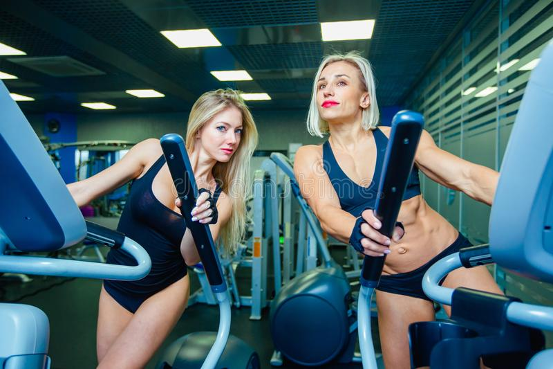 Positieve twee vrouwelijke vrienden die op elliptische trainers in geschiktheidsclub opleiden, levensstijlconcept cardio opleidin stock fotografie