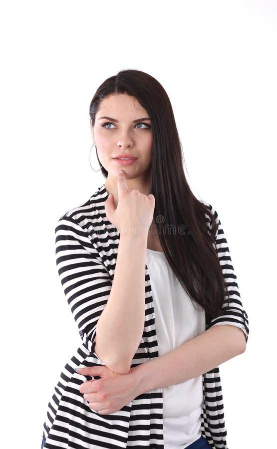 Position attrayante de jeune femme, d'isolement sur le fond blanc photo libre de droits