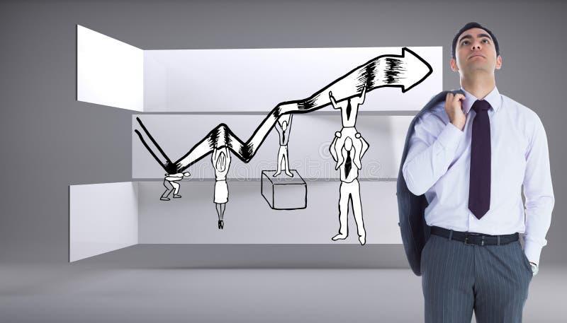 Position austère d'homme d'affaires image stock