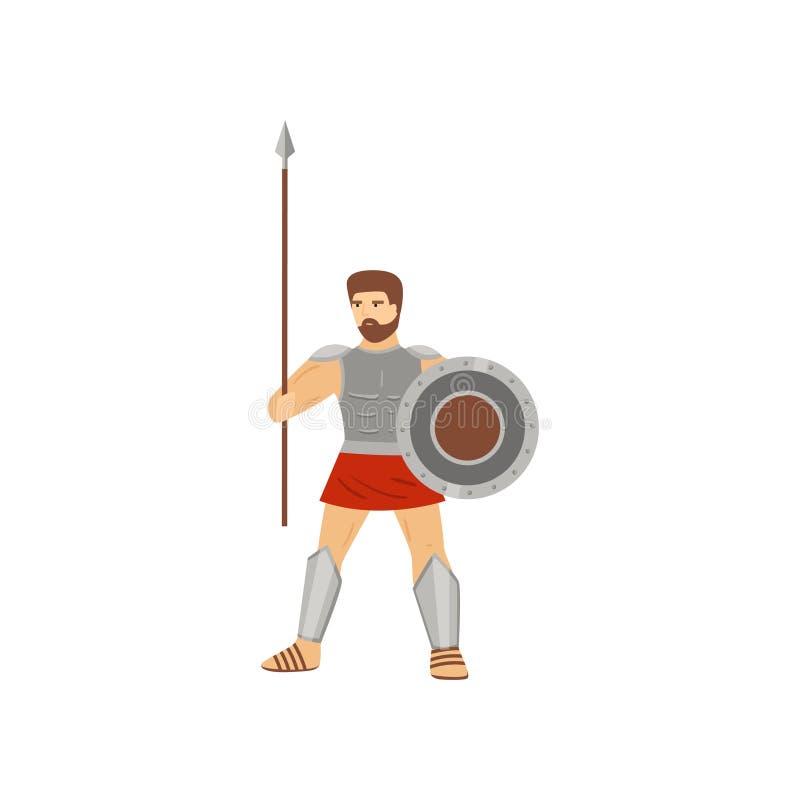 Position caucasienne courageuse de centurion avec la lance et le bouclier d'isolement sur le fond blanc illustration stock
