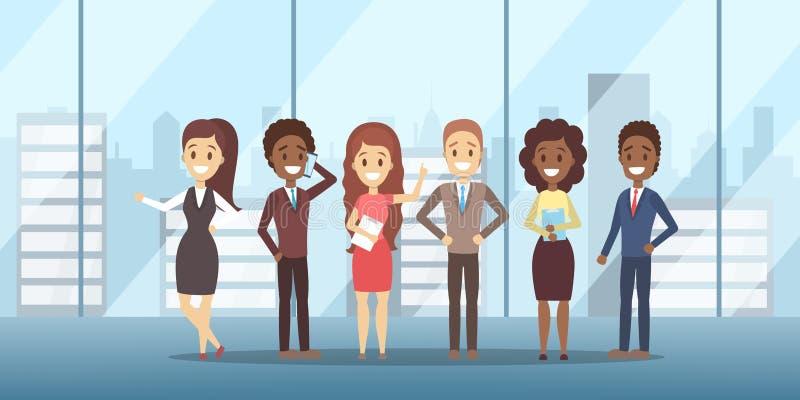 Position d'équipe d'affaires dans les costumes et l'habillement formel illustration de vecteur