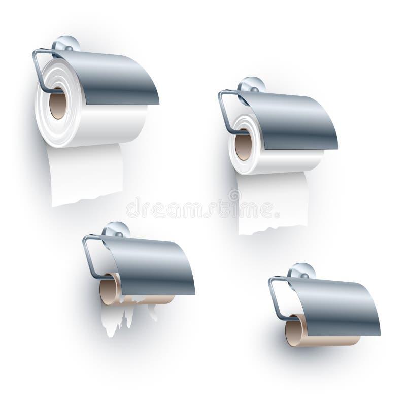 Position d'axe de petit pain de papier hygiénique sous l'ensemble illustration libre de droits