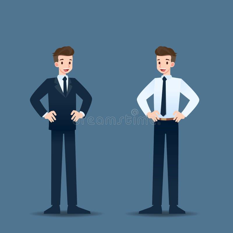 Position d'homme d'affaires avec la pose sur les hanches et fier heureux dans sa carrière illustration libre de droits