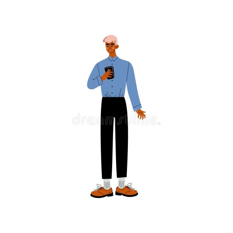 Position d'homme d'affaires avec Smartphone, l'employé de bureau, l'entrepreneur ou le directeur Character Vector Illustration illustration de vecteur