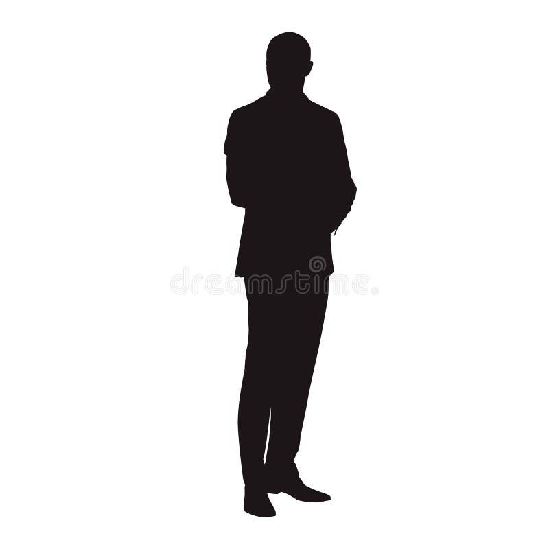 Position d'homme d'affaires dans le costume, silhouette de vecteur illustration libre de droits