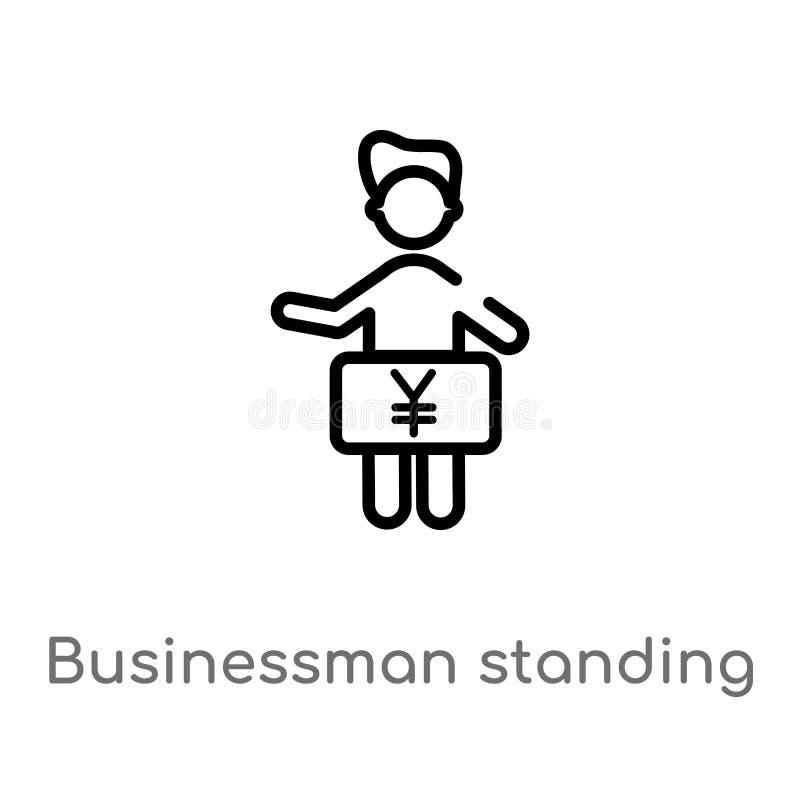 position d'homme d'affaires d'ensemble avec l'icône de vecteur de Yens ligne simple noire d'isolement illustration d'?l?ment de c illustration libre de droits