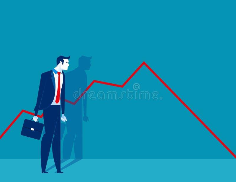 Position d'homme d'affaires et regarder un diagramme en baisse Illustration de vecteur d'affaires de concept illustration stock