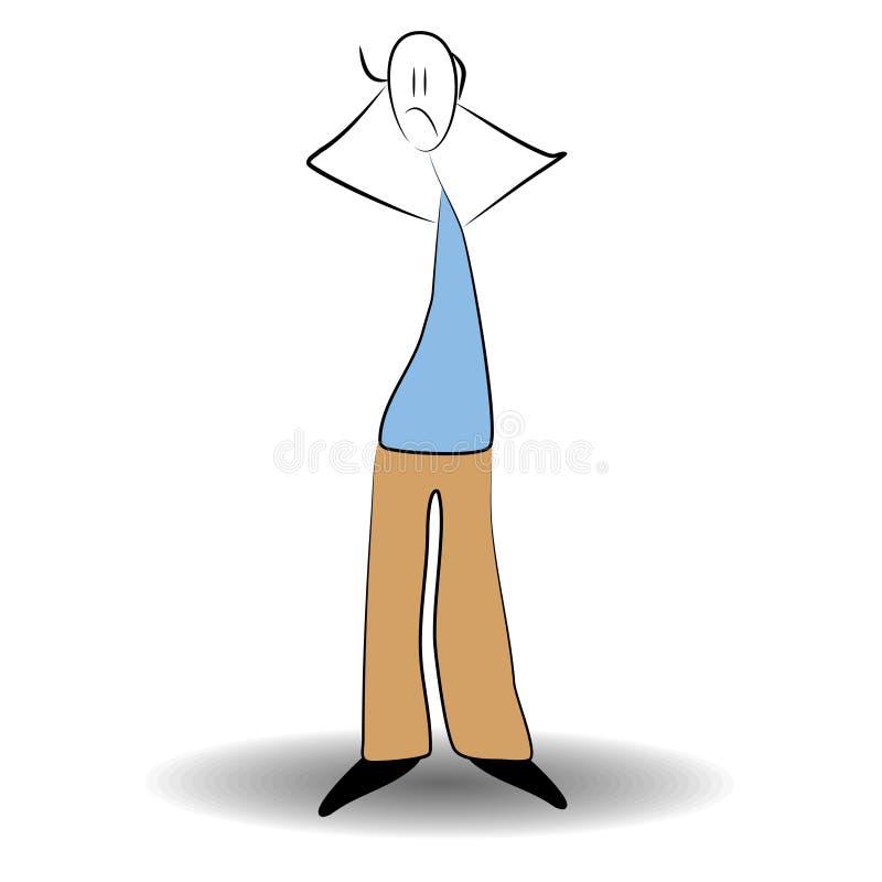 Position d'homme de bâton inquiétée illustration de vecteur