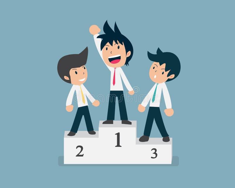 Position d'homme des affaires trois sur le gagnant Prodium images libres de droits