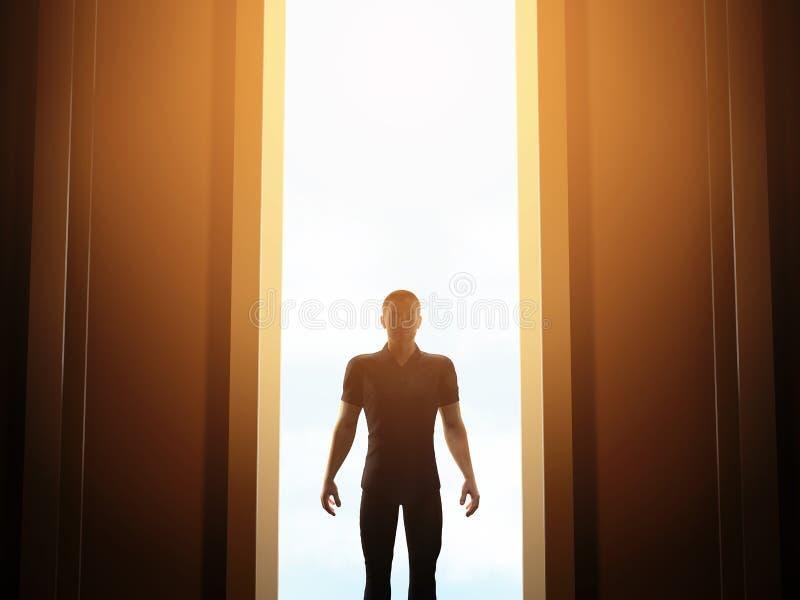 Position d'homme devant la porte ouverte mystérieuse illustration stock